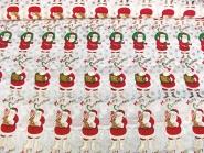 Weihnachtsdekostoff L8113-120 Merry Christmas mit Weihnachtsmännern und Schneeflocken in Gold, Breite ca. 150 cm