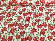Weihnachtsdekostoff L8113-121 mit Weihnachtssternen in rot und Goldglitter, Breite ca. 150 cm
