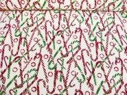 Weihnachtsdekostoff L8113-123 in creme mit Zuckerstangen und Goldglitter, Breite ca. 150 cm