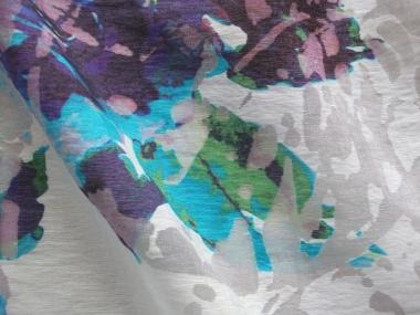 Ausbrenner 492419 in altweiß mit Blumendruck lila-türkis-grün