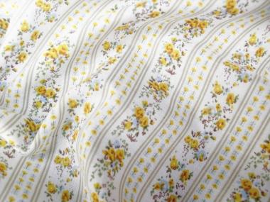 Baumwollstoff 8010204 natur hell mit Rosendruck, Farbe gelb