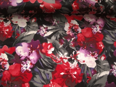 Baumwollstoff Stretch grau 99-02-BVU mit Blumendruck rot-lila
