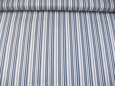 Baumwollstoff Stretch P091714 in weiß mit blauen Längsstreifen