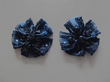 Blumenapplikation Nr. 56058846-05 mit Satinrosen und Strasssteinen, Farbe 05 marine