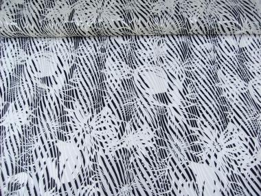 Chiffon-Ausbrenner 60920 mit glänzenden Streifen in silber-schwarz