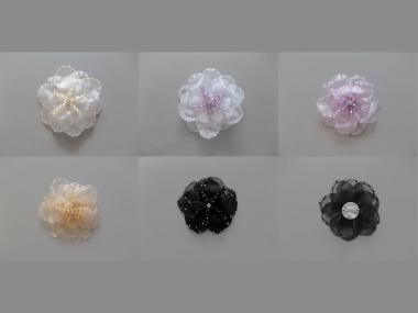 Chiffon-Blumenapplikation Nr. S 504 mit Perlen und Strasssteinen