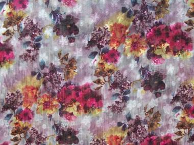 Chiffon L12204-004 in hellgrau mit Blumendruck lila/violett
