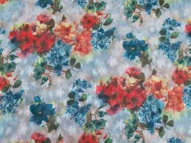 Chiffon L12204-002 in pastellblau mit Blumendruck blau-rot