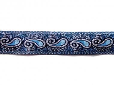 Besatzband in jeansblau mit Ornament und Silberglitter