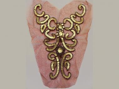 Dekolleté-Tülleinsatz GC0031 mit Pailletten in gold und bunten Perlen
