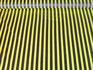 Faschingssatin CA1020-022 mit schwarzen und gelben Längsstreifen