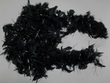 Edle Federboa 51527 in schwarz mit Silberfäden