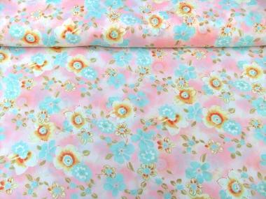 Georgette 801101 in pastellrosa mit Blumendruck