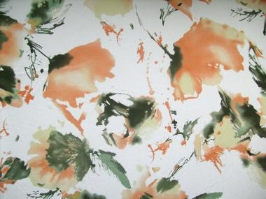 Georgette L80401 in weiß mit Blumendruck orange/grün