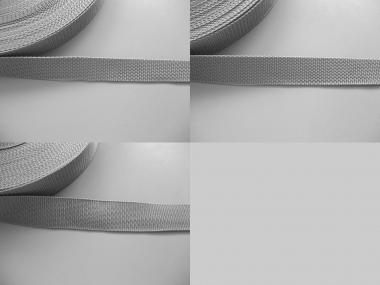Gurtband 357254 silbergrau, Stärke ca. 1,8 mm, Breiten 25-40 mm