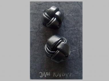 Jim Knopf Lederknopf schwarz Nr. 11939-44, Größe 44 (ca. 28 mm)