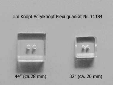 Jim Knopf Acrylknopf Plexi quadrat Nr. 11184-44, Größe 44 (ca. 28 mm)