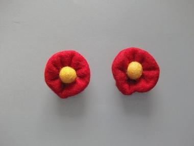 Jim Knopf Filzblume Nr. 12193-06, Farbe 06 rot-gelb
