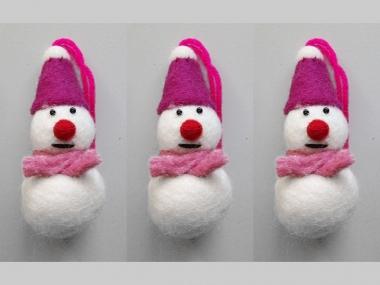 Jim Knopf Filz-Schneemann Nr. 12194-02, Farbe 02 Hut pink