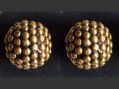 Jim Knopf Holzknopf mit Metallkugeln in gold Nr. 80370-60g