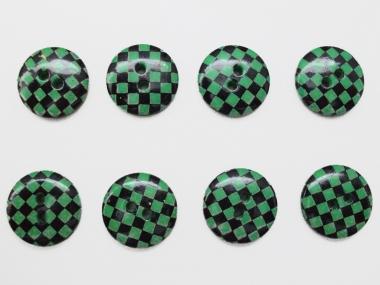 Knopf kariert - Vichyknopf Nr. 6485-28-7, Farbe 7 grün/schwarz
