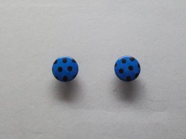 Knopf mit schwarzen Punkten Nr. 6089-24-6, Farbe 6 blau/schwarz