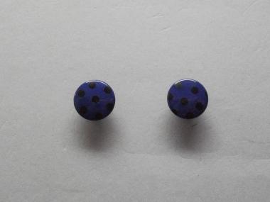 Knopf mit schwarzen Punkten Nr. 6089-24-8, Farbe 8 dunkellila/schwarz