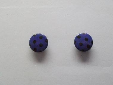 Knopf mit schwarzen Punkten Nr. 6089-28-8, Farbe 8 dunkellila/schwarz