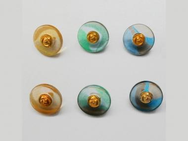 Knopf transparent mit Farbverlauf und Rose gold 71800-24