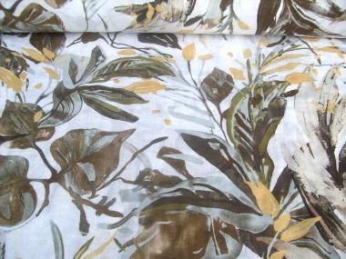 Leinenstoff Isla Sharma HI-K8202/1 weiß - Blumendruck braun/gold