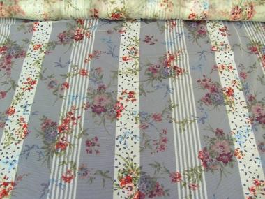 Netz-Chiffon SU0028-022 in pastellgrün mit Blumendruck