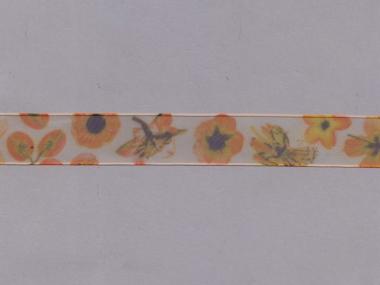 Organzaband 10958-01 mit Blumendruck, Farbe 01 orange