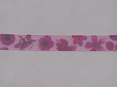 Organzaband 10958-02 mit Blumendruck, Farbe 02 violett