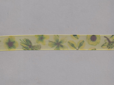 Organzaband 10958-03 mit Blumendruck, Farbe 03 limette