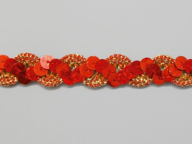 Paillettenband zick-zack rot-gold mit Gimpe Nr. 289476-550