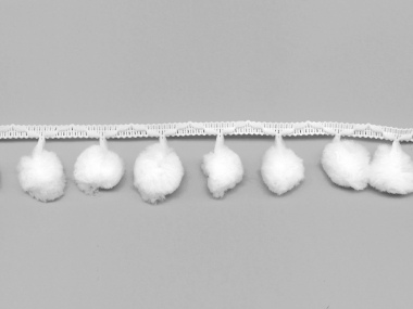 Pomponborte - Bommelborte Nr. 15009-01, Farbe 01 weiß