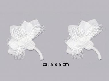 Satinblume mit Chiffon Nr. 91491w, Farbe weiß