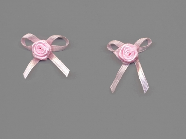 Satinrose mit Schleife S104-117, Farbe rosa