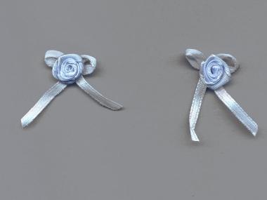 Satinrose mit Schleife S104-308, Farbe hellblau