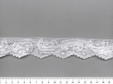 Schleifen-Tüllspitze bestickt G3498 in weiß mit Perlen