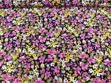 Stoff 28-002-A in schwarz mit Blumendruck in lila-gelb-weiß