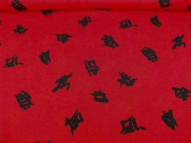 Faschingsstoff Shanghai CA1015-44 in rot mit schwarzen Schriftzeichen