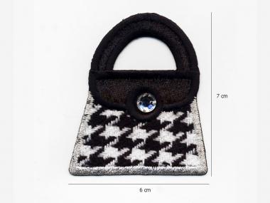 Stoffapplikation SM1544-0301 - Handtasche schwarz-weiß