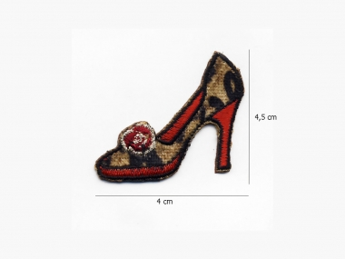 Stoffapplikation JH-M1238-2204 - Schuh Leopardenfell beige-rot