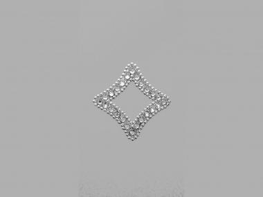 Strass-Bügelmotiv CS081 auf silberner Glitterfolie
