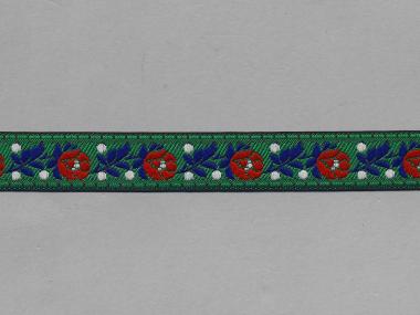 Trachtenband 16066-30 in grün mit Rosen in rot bestickt