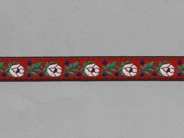 Trachtenband 16066-65 in rot mit Rosen in weiß bestickt