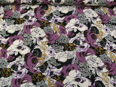 Viskose Jersey 42-016-AL-47 mit Blumendruck lila/schwarz