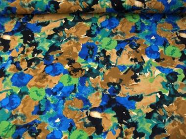 Viskose Jersey 99-035-BVO mit Blumendruck blau-braun-grün-schwarz