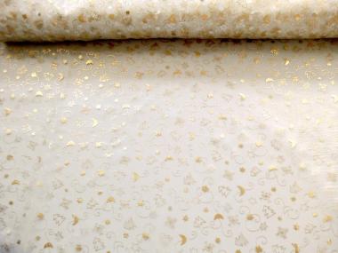 Weihnachtsorganza L8113-205 creme mit Goldsternen und Tannenbäumen